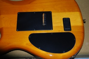 Back of guitar showing closed battery compartment.